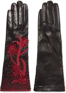 Prada Bead-embellished Leather Gloves