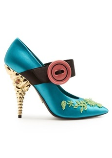 Prada Bead-embellished satin pumps