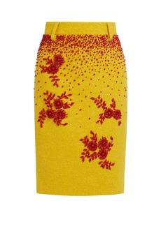 Prada Bead-embellished wool-blend bouclé skirt