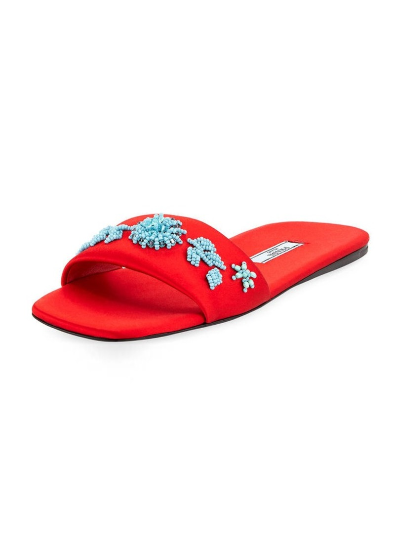 Prada Beaded Satin One-Band Flat Slide Sandal