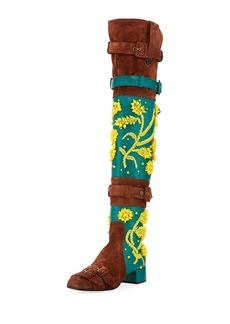 Prada Beaded Suede Over-the-Knee Boot