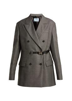 Prada Belt-fastening damier wool blazer