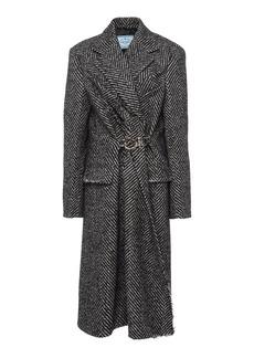 Prada Belted Chevron Wool-Felt Coat