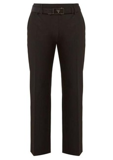 Prada Belted cropped crepe trousers