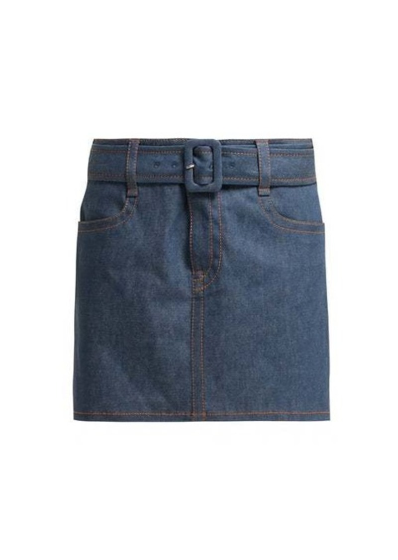 Prada Belted denim mini skirt