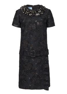 Prada Belted Embellished Brocade Mini Shift Dress