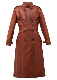 Prada Belted grained-leather trench coat