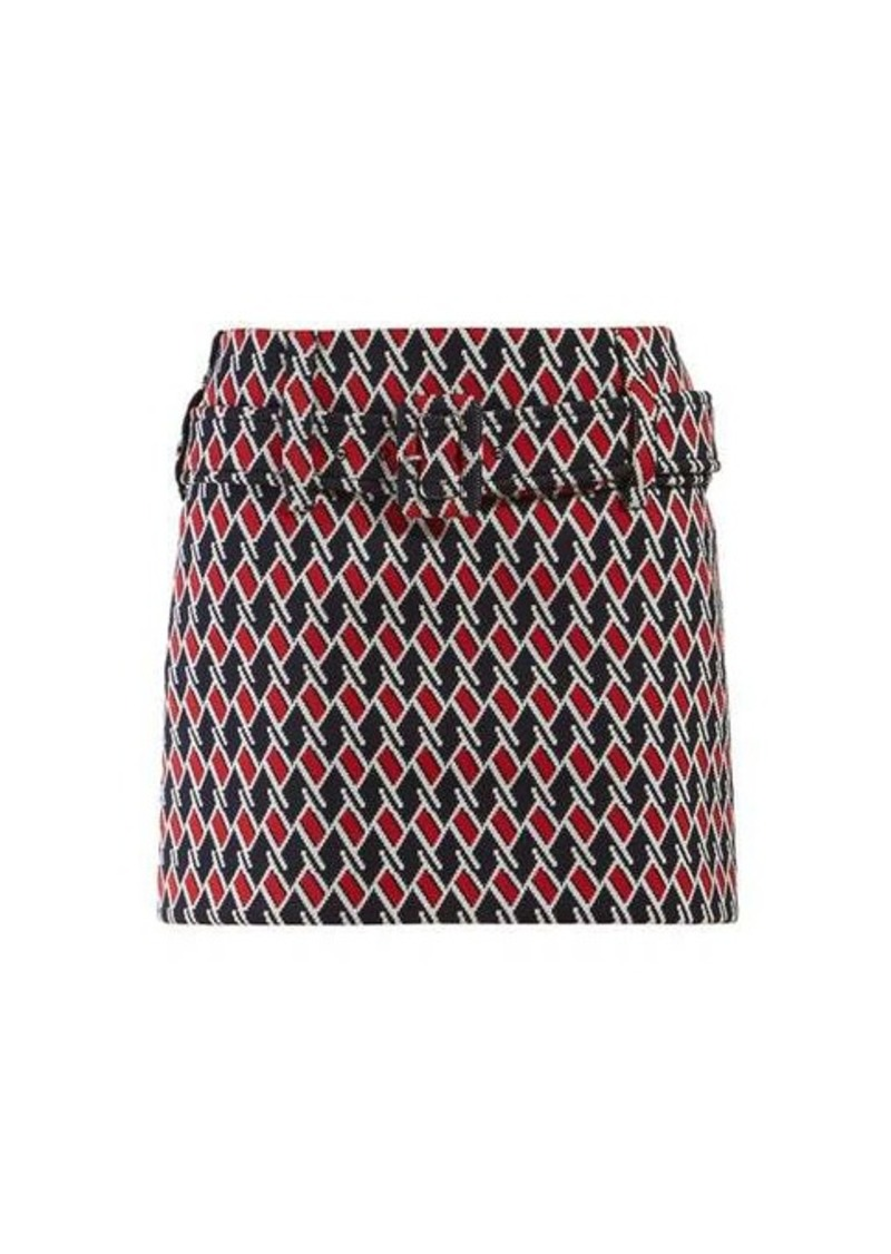Prada Belted houndstooth-jacquard mini skirt