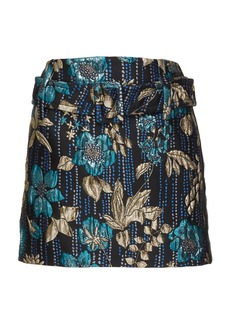 Prada Belted Metallic Floral Brocade Mini Skirt