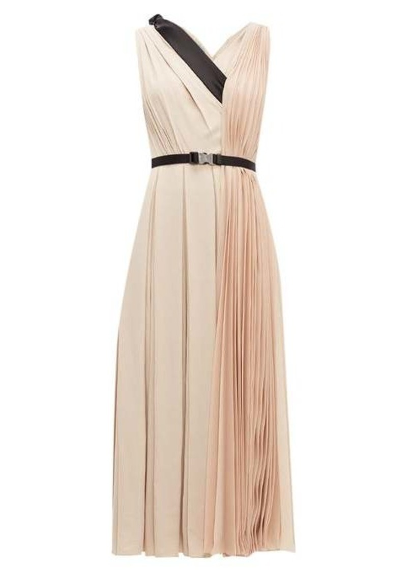Prada Belted pleated-twill midi dress