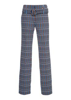 Prada Belted Printed Straight-Leg Pants