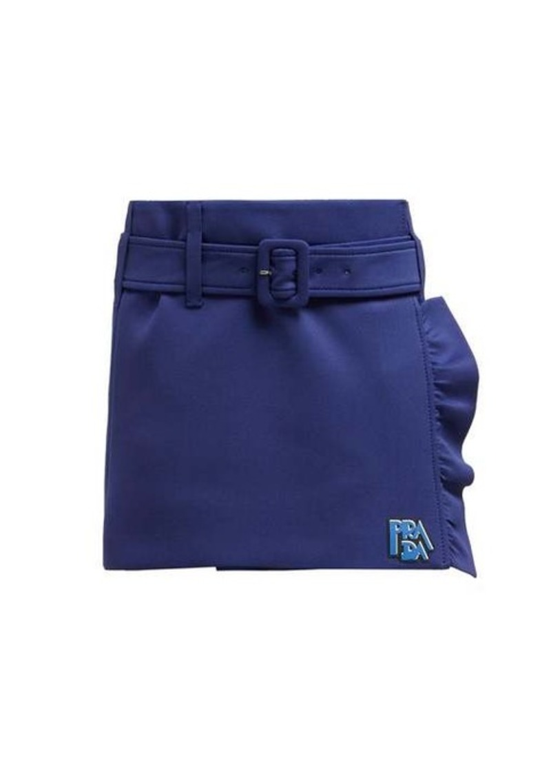 Prada Belted ruffle-trimmed mini skirt