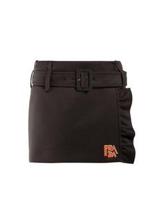 Prada Belted ruffle-trimmed mini skirt