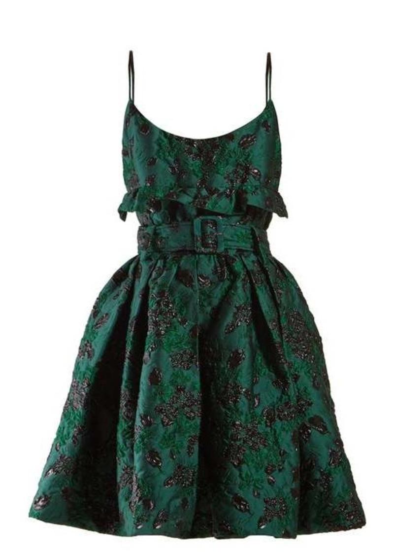 Prada Belted satin brocade mini dress