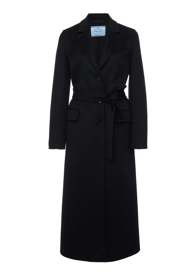 Prada Belted Wool-Felt Coat