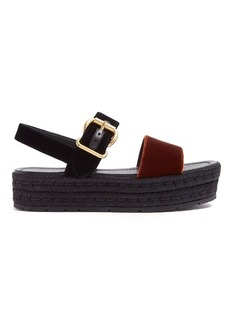 Prada Bi-colour double-strap velvet flatform sandals