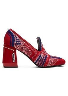 Prada Block-heel logo-jacquard loafers