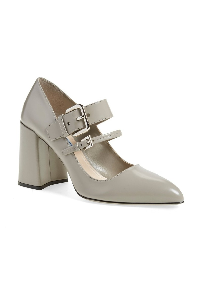 Prada Block Heel Pointy Toe Pump (Women)