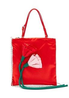 Prada Blossom floral-embellished silk-satin shoulder bag