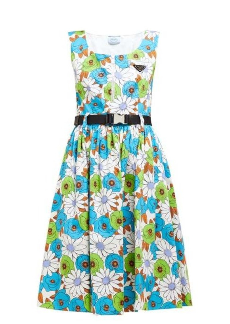 Prada Blossom-print cotton-poplin dress