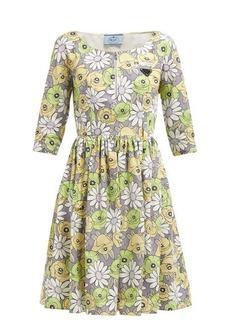 Prada Blossom-print cotton poplin smock dress