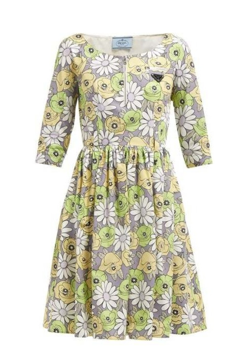 Prada Blossom-print cotton poplin smock dress