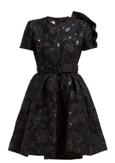 Prada Bouquet-brocade flared mini dress