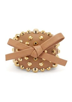 Prada Bow and stud-embellished leather cuff