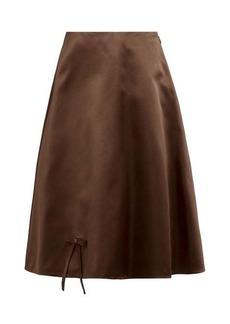 Prada Bow appliqué double silk-satin midi skirt
