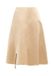 Prada Bow appliqué silk-satin skirt