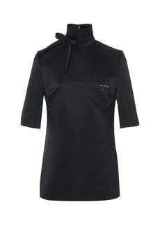 Prada Bow-Detailed Silk Blend-Satin Turtleneck Top