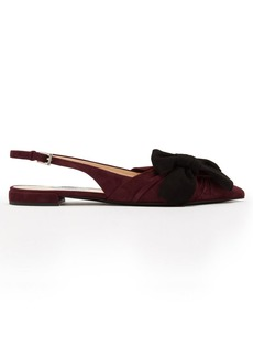 Prada Bow-embellished point-toe suede flats