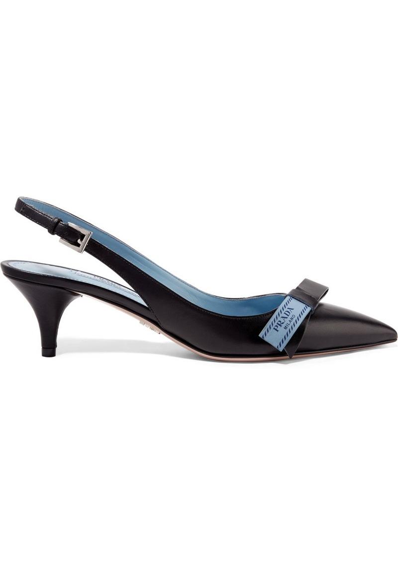 9a64bf515ccd Prada Logo-print leather slingback pumps   Shoes