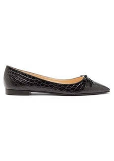 Prada Bow-front crocodile-effect leather ballet flats