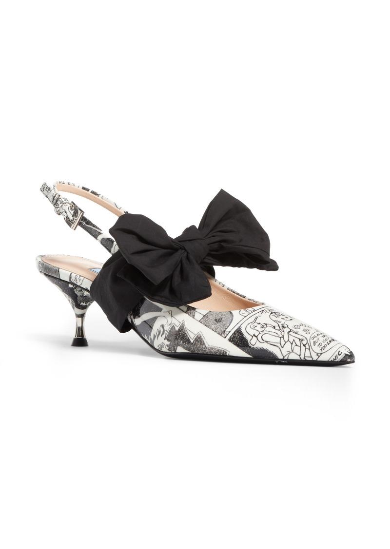 Prada Bow Pointy Toe Slingback Pump (Women)