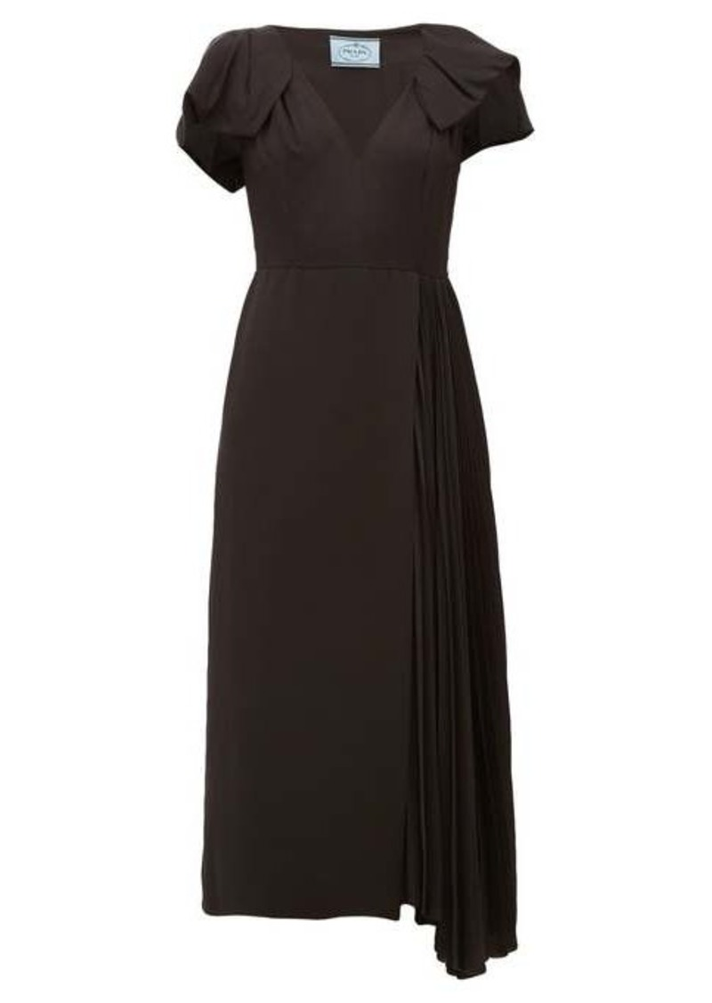 Prada Bow-sleeve pleated twill midi dress