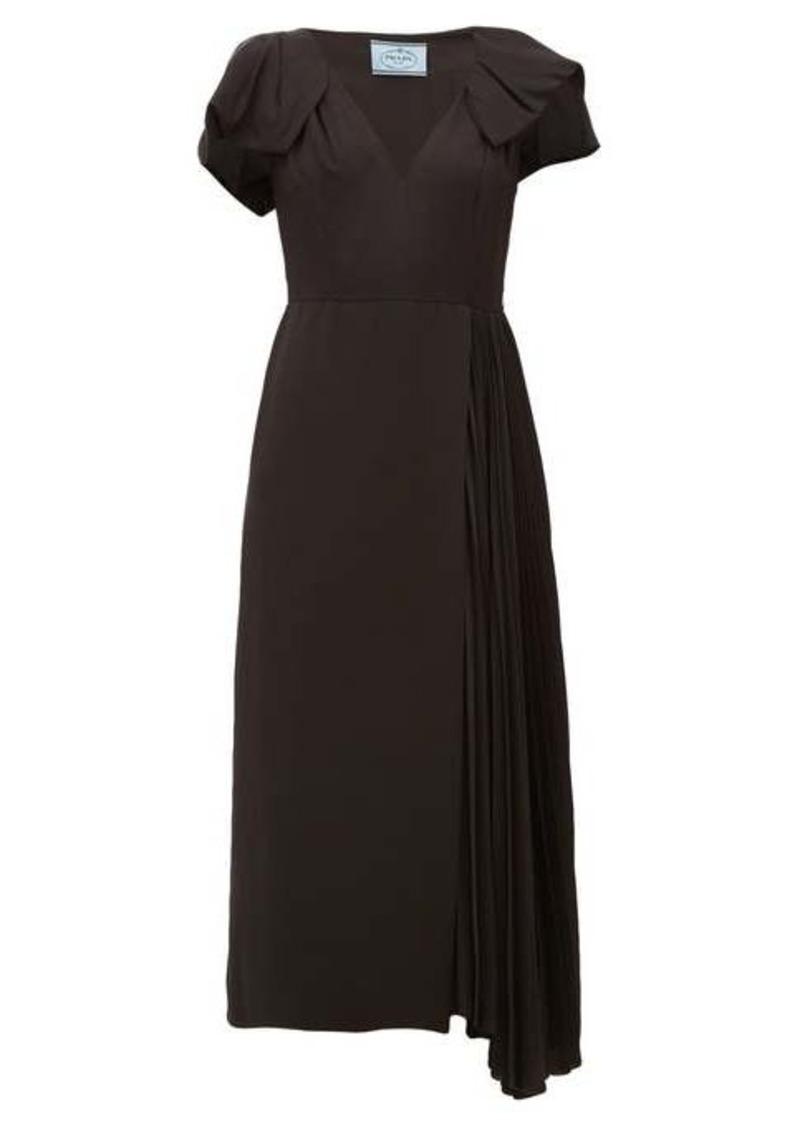 Prada Bow-sleeve pleated twill midi dress