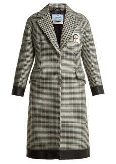 Prada Bow-trim houndstooth wool-blend coat