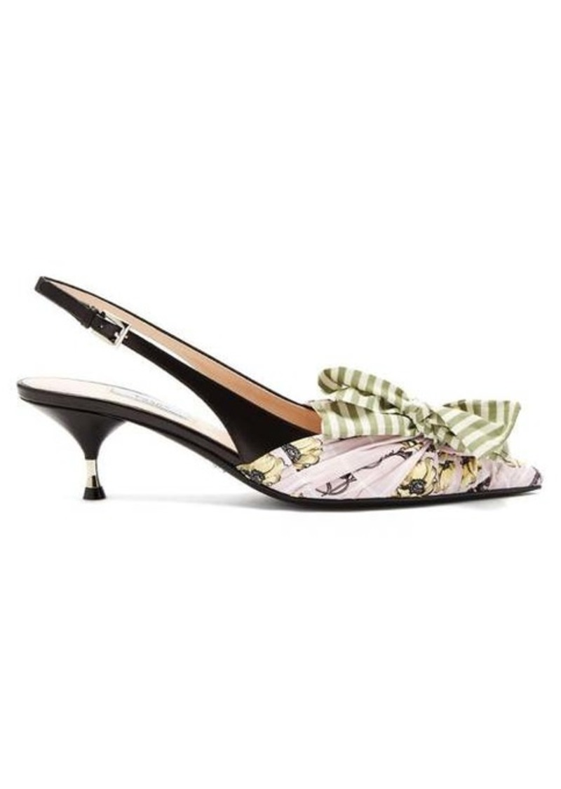 Prada Bow-trim slingback leather pumps