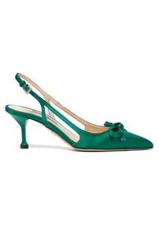 Prada Bow-trim slingback satin pumps