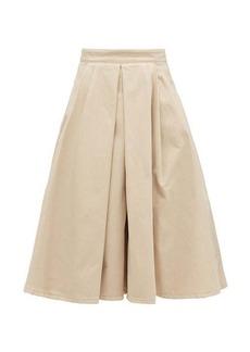 Prada Box-pleated denim midi skirt