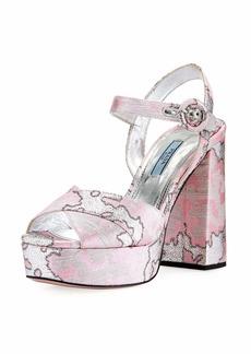 Prada Brocade Platform Block-Heel Sandal