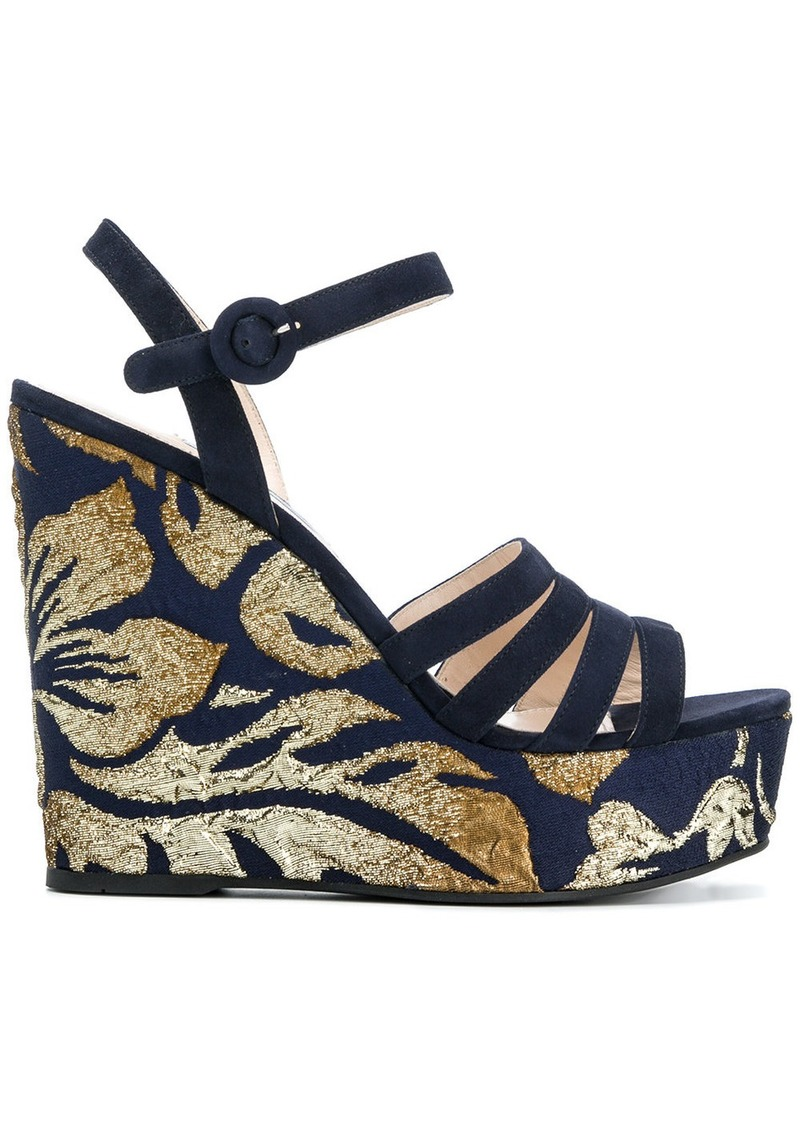 Prada brocade wedge sandals