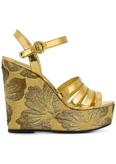 Prada brocade wedge sandals - Metallic