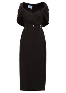 Prada Buckled-waist cape cady-crepe dress