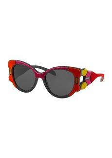 Prada Butterfly Sunglasses w/ Velvet Detail