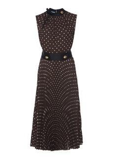 Prada Button-Detailed Polka-Dot Crepe De Chine Midi Dress
