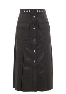 Prada Button-through pleated leather midi skirt