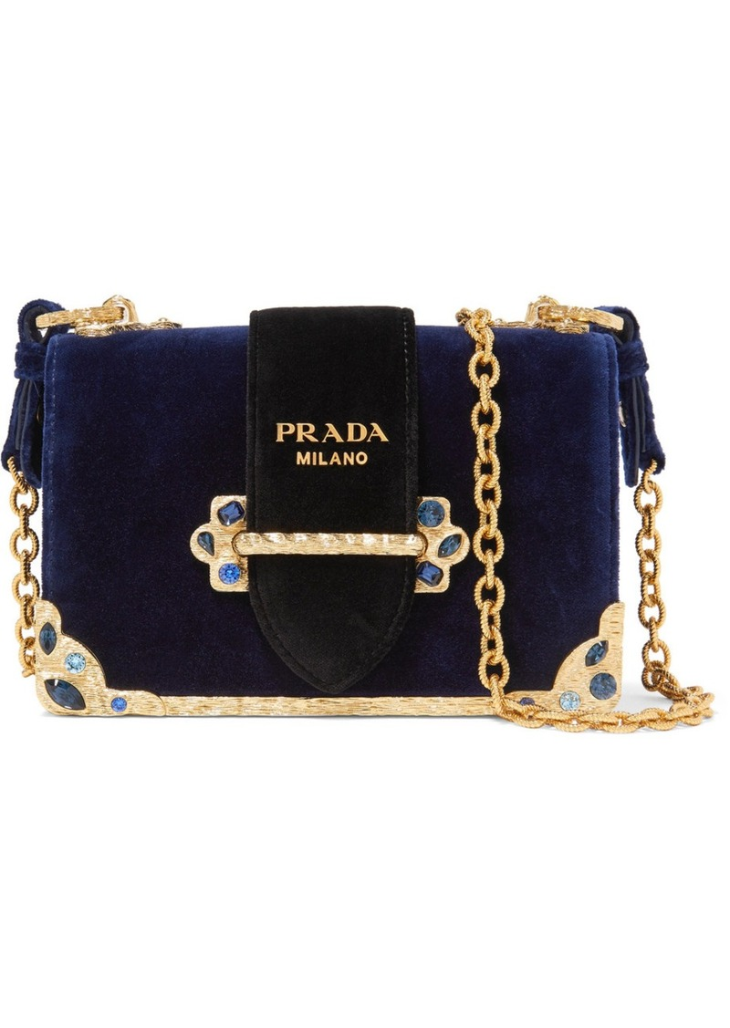 b4d120cc763a Prada Cahier crystal-embellished velvet shoulder bag | Handbags