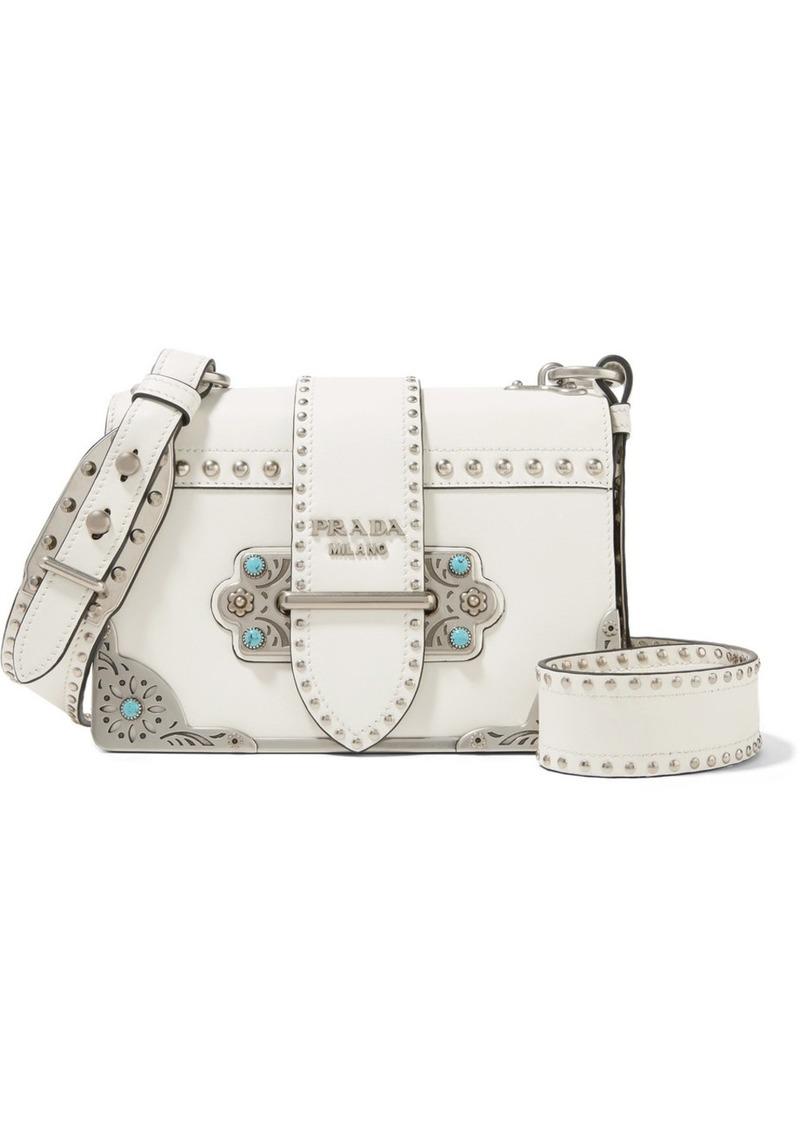 34c1eea6ece9 Prada Cahier embellished leather shoulder bag